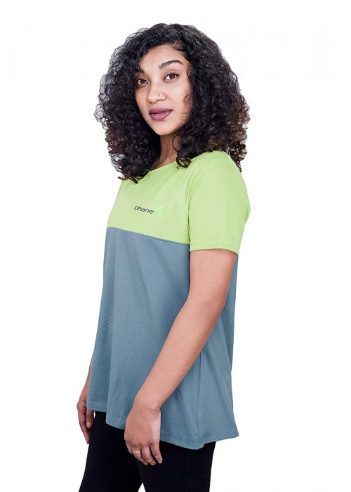 Uhane Women's Yoga and Gym Dri-Fit/Cotton Mix (Dual Colour) Loose Fit Work-Out T-Shirt