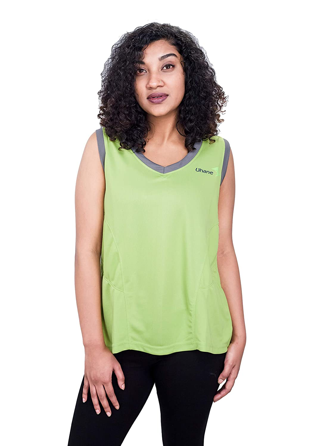 Uhane Women's Gym Dri-Fit Work-Out Deep V-Neck Loose Fit T-Shirt (Lime Green) Sleeveless Top for Sports and Fitness