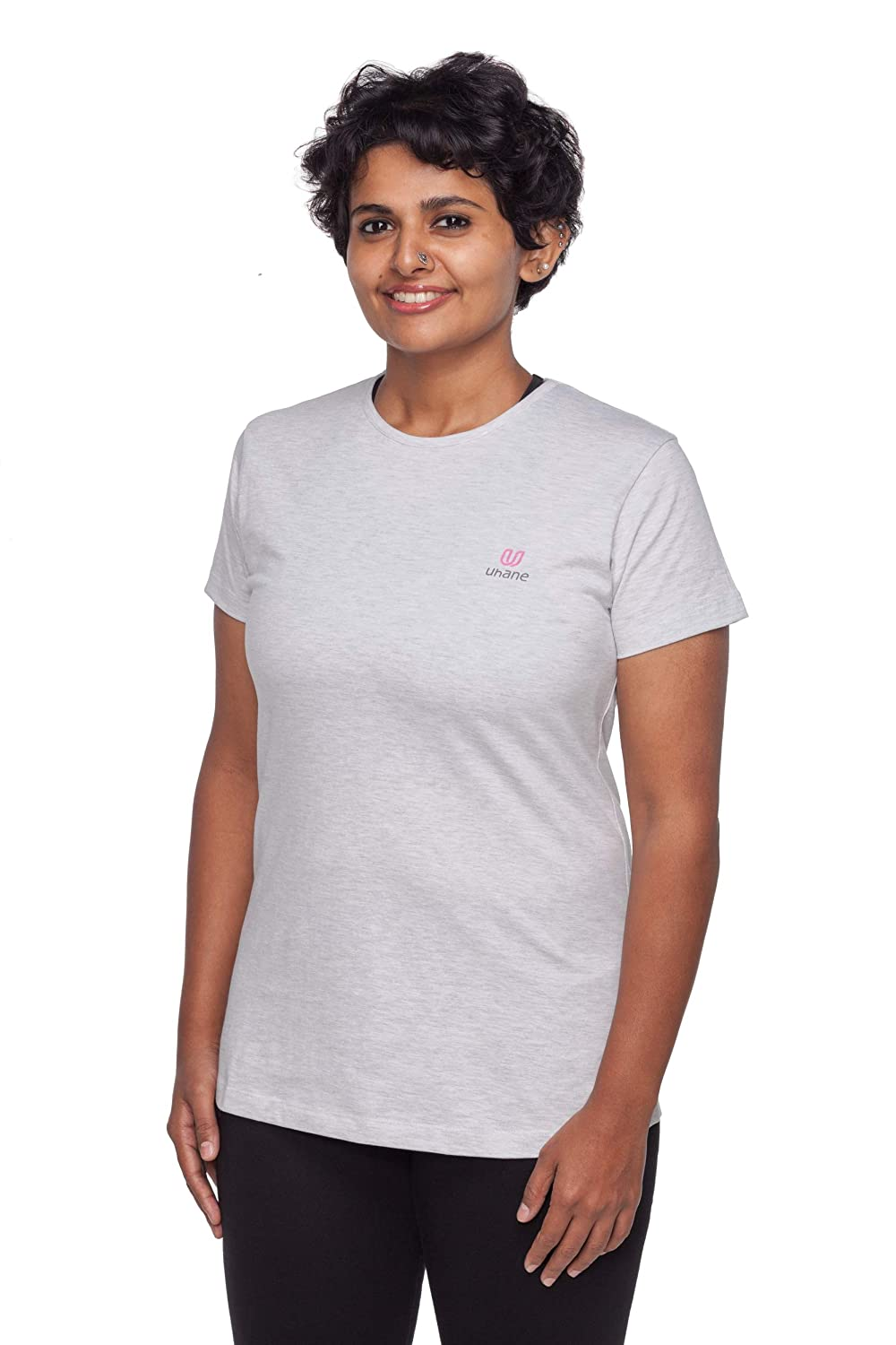 Uhane Women's Yoga and Gym Cotton Work-Out Round Neck Straight Cut Plain T-Shirt (Beige) Short Sleeves Top for Sports and Fitness