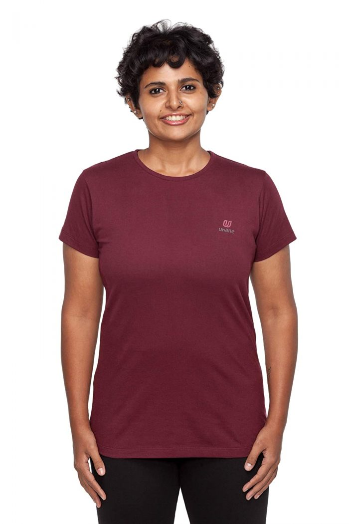 Uhane Women's Yoga and Gym Cotton Work-Out Round Neck Straight Cut Plain T-Shirt (Maroon) Short Sleeves Top for Sports and Fitness
