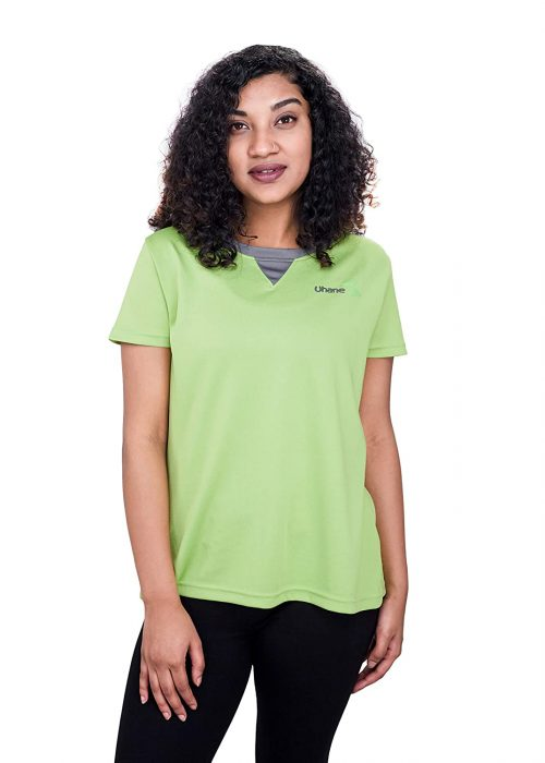 Uhane Women's Gym Dri-Fit Work-Out Round Neck T-Shirt (Lemon Green) Extra Short Sleeves Top for Sports and Fitness