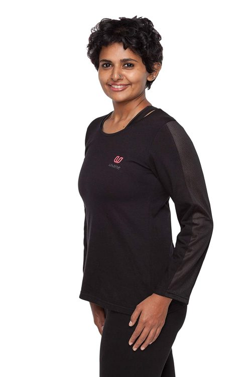 Uhane Women's Yoga and Gym Cotton Work-Out Deep Round Loose Fit Full-Sleeve T-Shirt (Black) Long Sleeves Top for Sports and Fitness