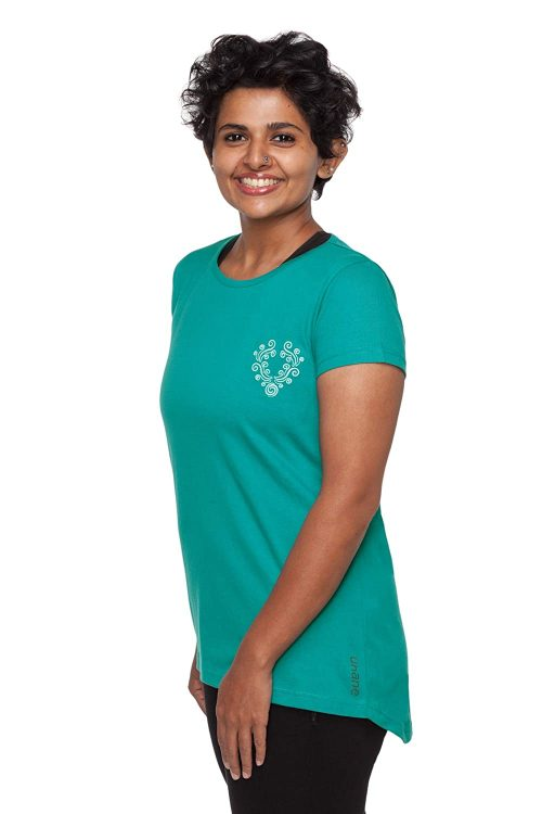 Uhane Women's Yoga and Gym Cotton Work-Out Round Neck Straight Cut Long Back Embroidered T-Shirt (Turquoise) Short Sleeves Top for Sports and Fitness