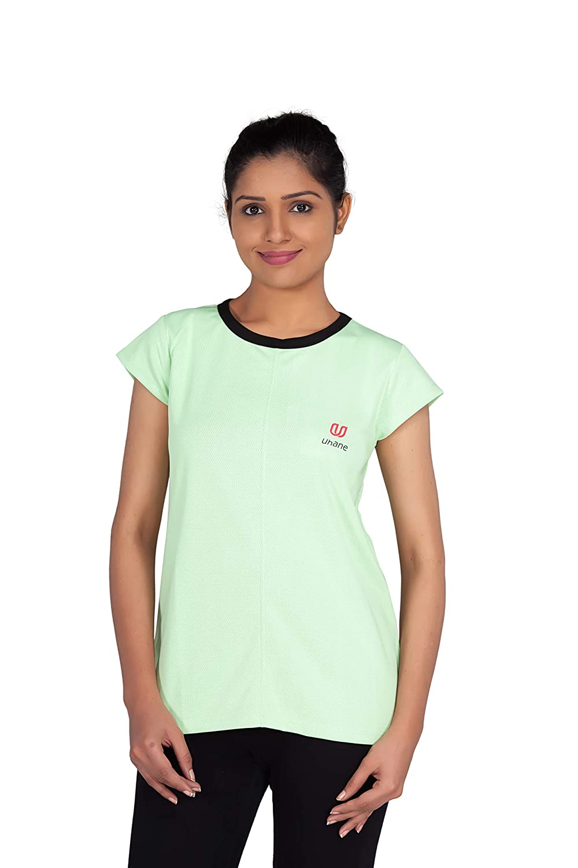 Uhane Women's Gym Dri-Fit Work-Out Round Neck T-Shirt (Lemon Green) Extra Short Sleeves