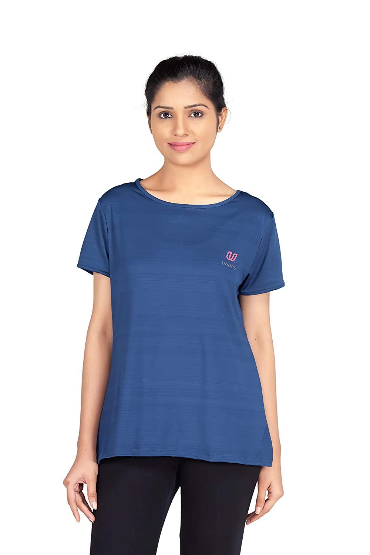 Uhane Women's Gym Dri-Fit Work-Out Wide Round Neck T-Shirt (Dark Blue) Short Sleeves