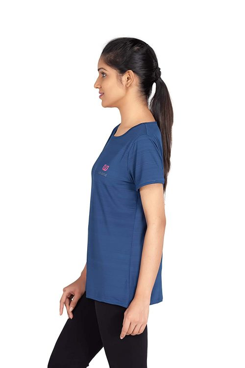 Uhane Women's Gym Dri-Fit Work-Out Wide Round Neck T-Shirt (Dark Blue) Short Sleeves