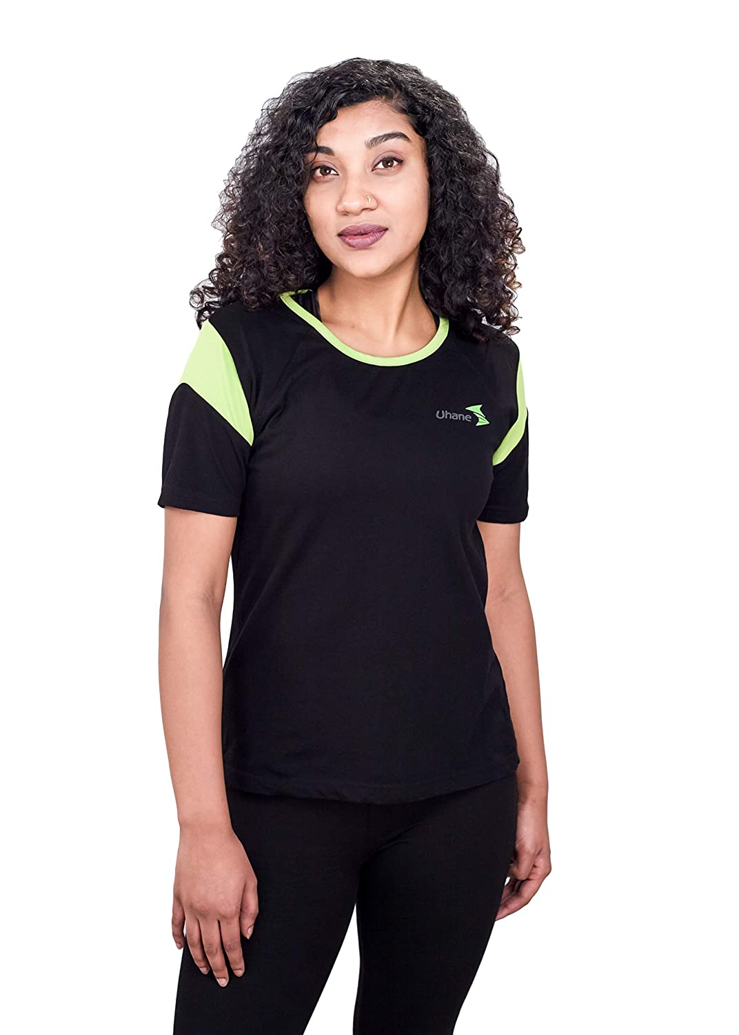 Uhane Women's Gym Classic Cotton Work-Out Round Neck Loose Fit T-Shirt (Black) Short Sleeves Top for Sports and Fitness