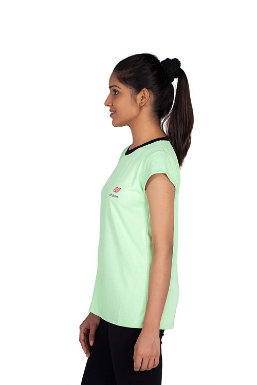 Uhane Women's Gym Dri-Fit Work-Out Round Neck T-Shirt (Lemon Green) Extra Short Sleeves