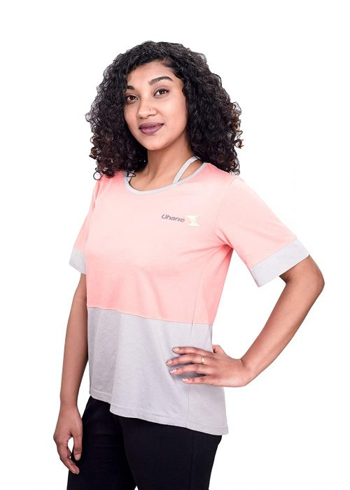 Uhane Women's Yoga and Gym Cotton Work-Out Extreme Deep Neck Loose Fit T-Shirt (Pink) Short Sleeves Top for Sports and Fitness