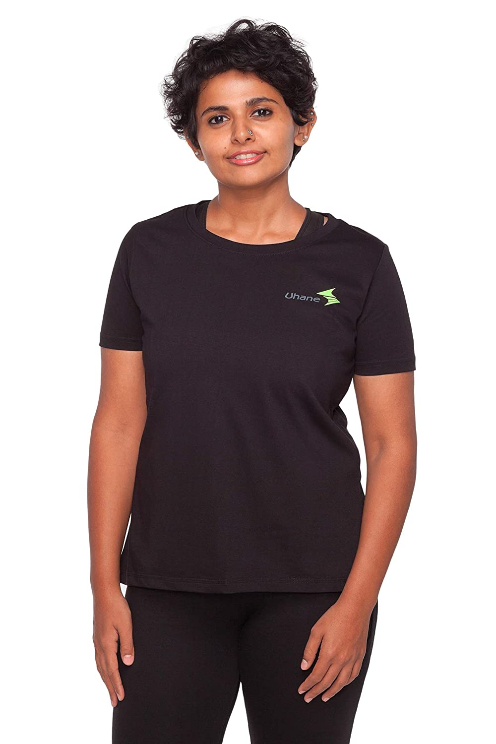 Uhane Women's Gym Dri-Fit Classic Work-Out Round Neck Loose Fit T-Shirt (Black) Short Sleeves
