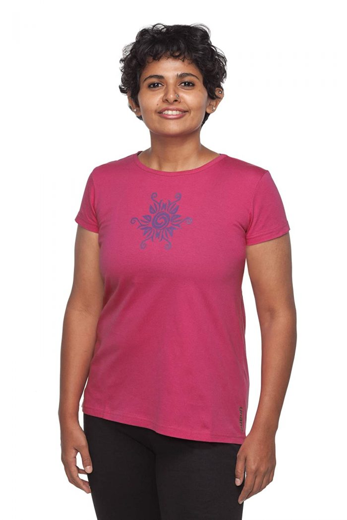 Uhane Women's Yoga and Gym Cotton Work-Out Round Neck Straight Cut Printed T-Shirt (Deep Pink) Short Sleeves Top for Sports and Fitness