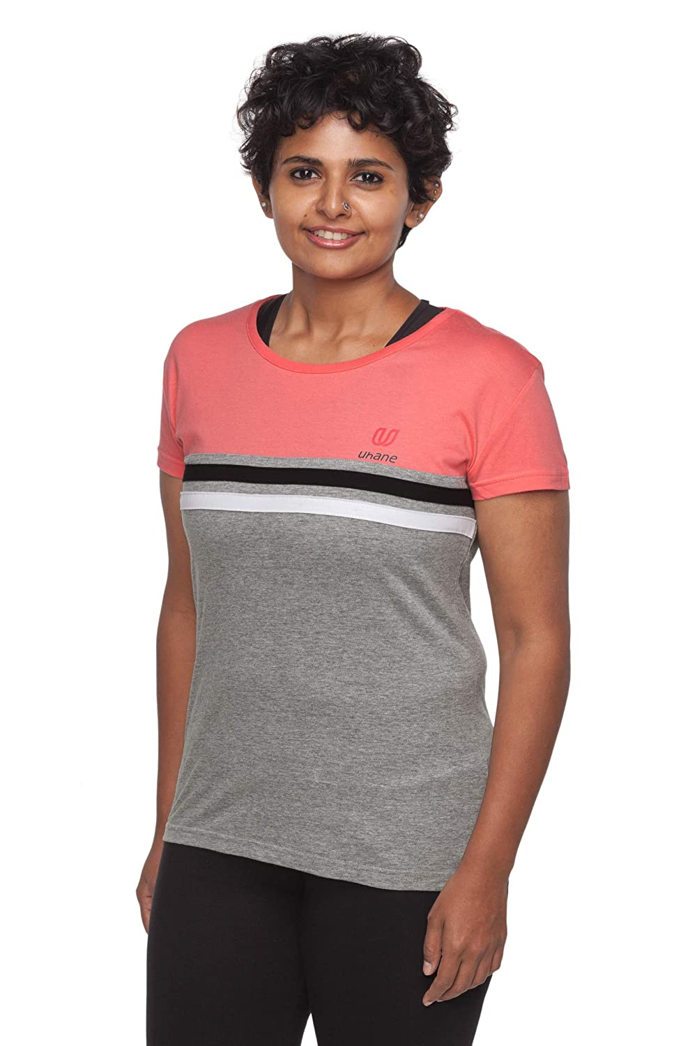 Uhane Women's Yoga and Gym Cotton Work-Out Round Neck Slim-Fit T-Shirt (Pink) Short Sleeves Top for Sports and Fitness