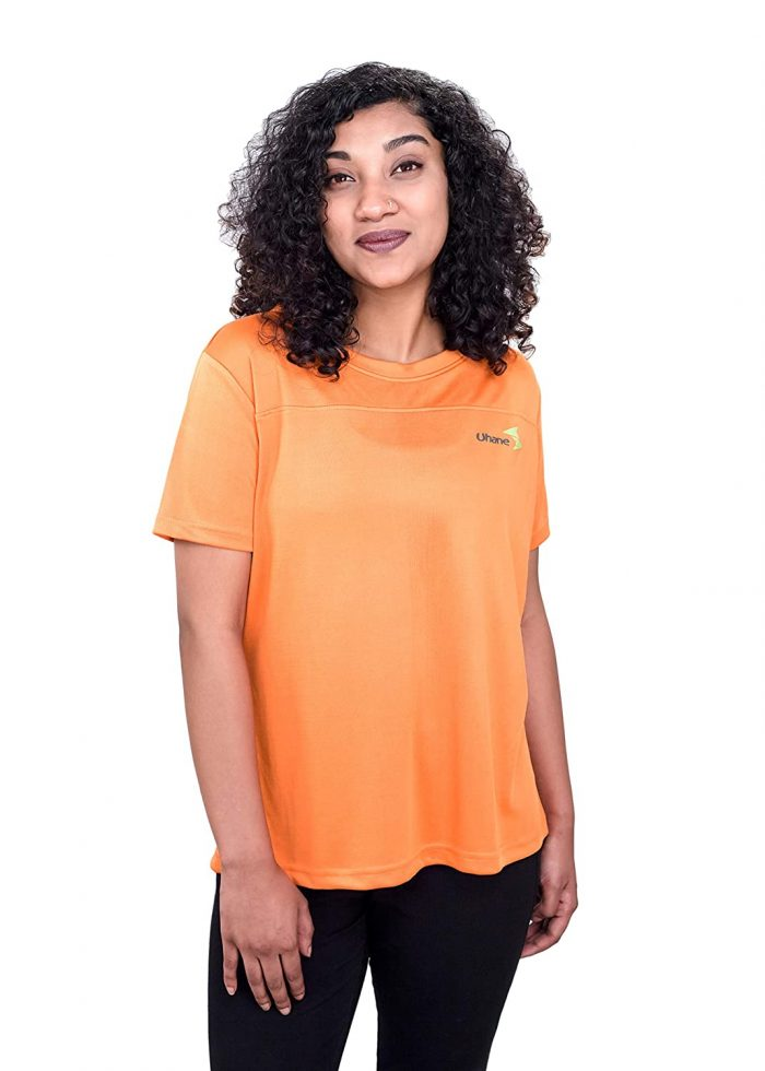 Uhane Women's Gym Dri-Fit Work-Out Deep V-Neck T-Shirt (Multi-Coloured) Short Sleeves Patterned Top for Sports and Fitness