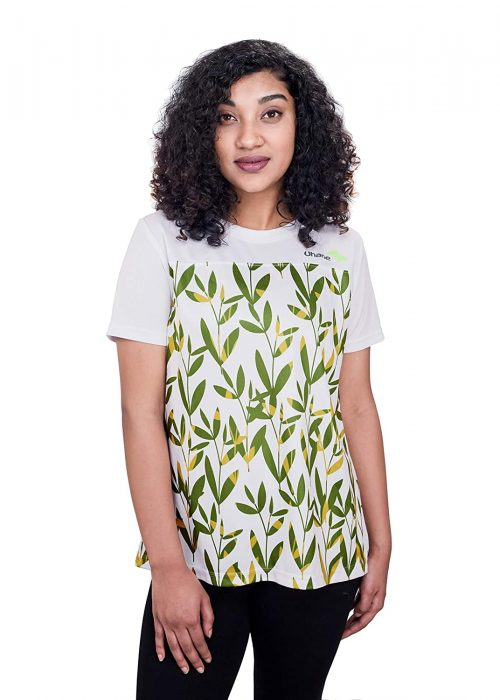 Uhane Women's Gym Dri-Fit Work-Out Round Neck Loose Fit T-Shirt (White with Green Leaf Print) Short Sleeves Printed