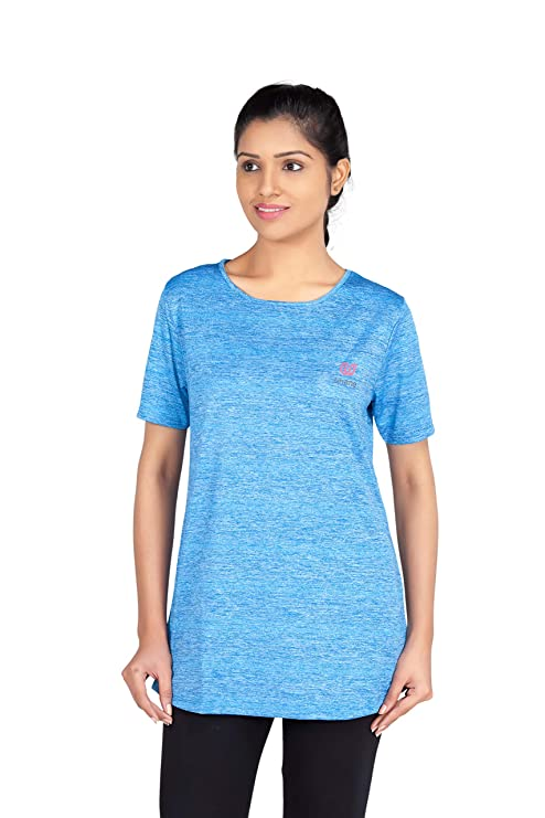 Uhane Women's Gym Dri-Fit Work-Out Round Neck Long Back T-Shirt (Bright Blue) Short Sleeves