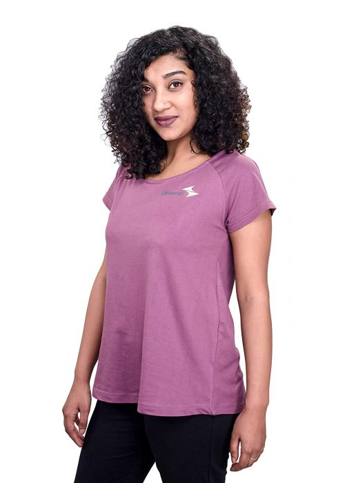 Uhane Women's Yoga and Gym Cross-Back Cotton Work-Out Extreme Deep Neck Loose Fit T-Shirt (Purple) Short Sleeves Top for Sports and Fitness