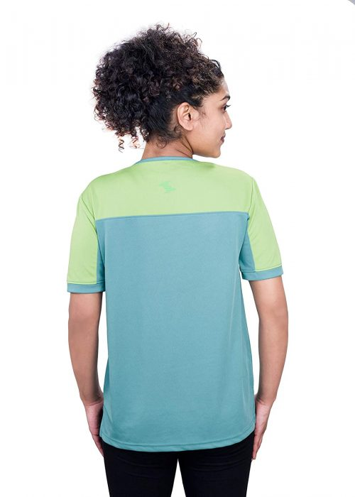 Uhane Women's Gym Dri-Fit Work-Out Round Neck Loose Fit Straight-Cut Long Back T-Shirt (Ocean Blue/Lime Green) Short Sleeves