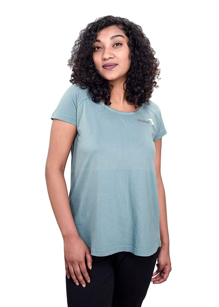Uhane Women's Yoga and Gym Cross-Back Cotton Work-Out Extreme Deep Neck Loose Fit T-Shirt (Teal) Short Sleeves Top for Sports and Fitness