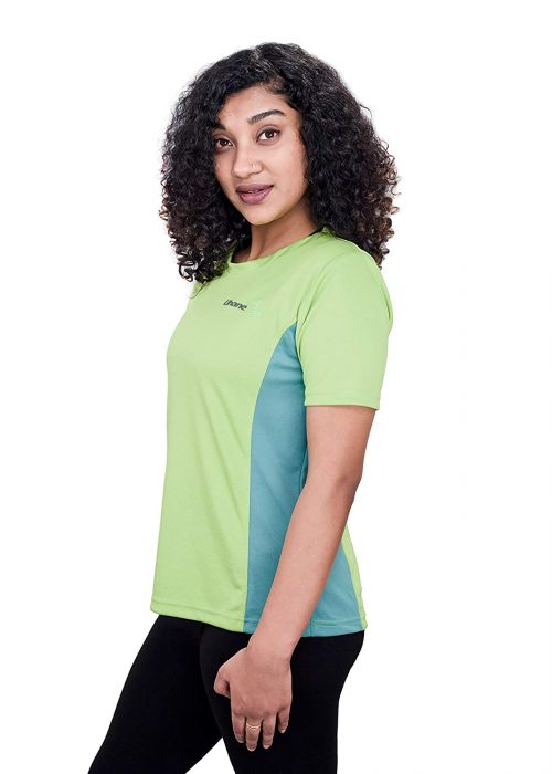 Uhane Women's Gym Dri-Fit Work-Out Round Neck Loose Fit T-Shirt (Lime Green/Ocean Blue) Short Sleeves