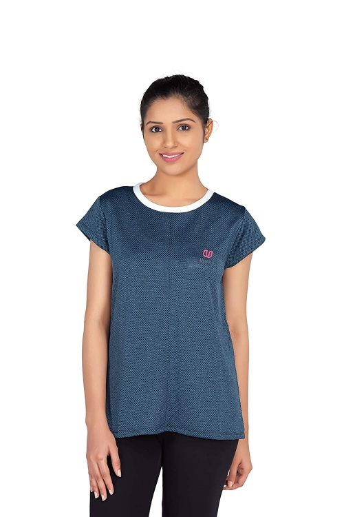 Uhane Women's Gym Dri-Fit Work-Out Round Neck T-Shirt (Deep Blue/White) Short Sleeves
