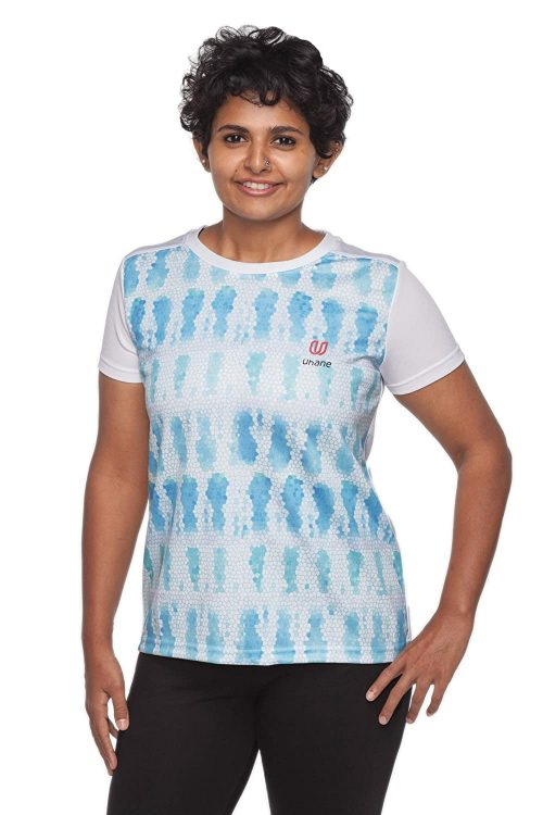 Uhane Women's Gym Dri-Fit Crew Neck Printed T-Shirt (Blue Honeycomb) Short Sleeves Top for Sports and Fitness