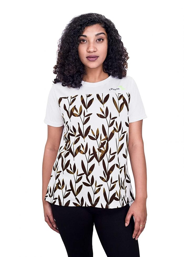 Uhane Women's Gym Dri-Fit Work-Out Round Neck Loose Fit T-Shirt (White with Brown Leaf Print) Short Sleeves Printed