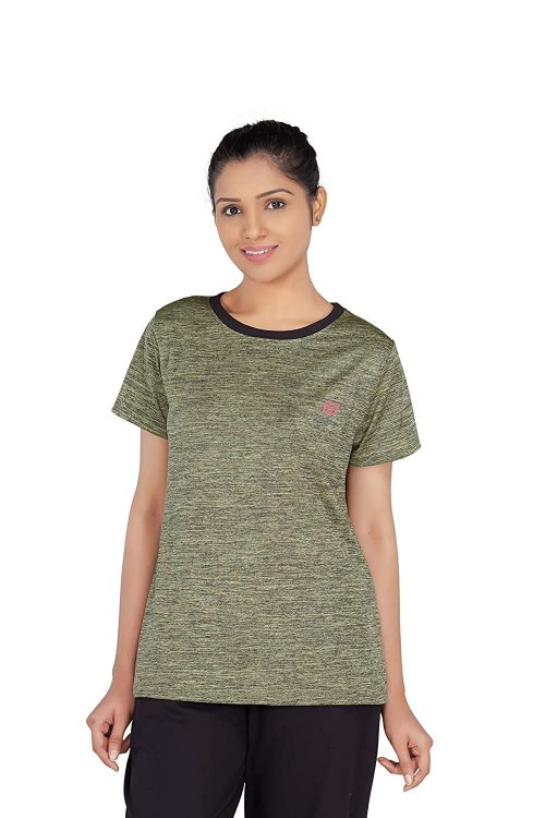 Uhane Women's Gym Dri-Fit Work-Out Round Neck T-Shirt (Bronze) Short Sleeves