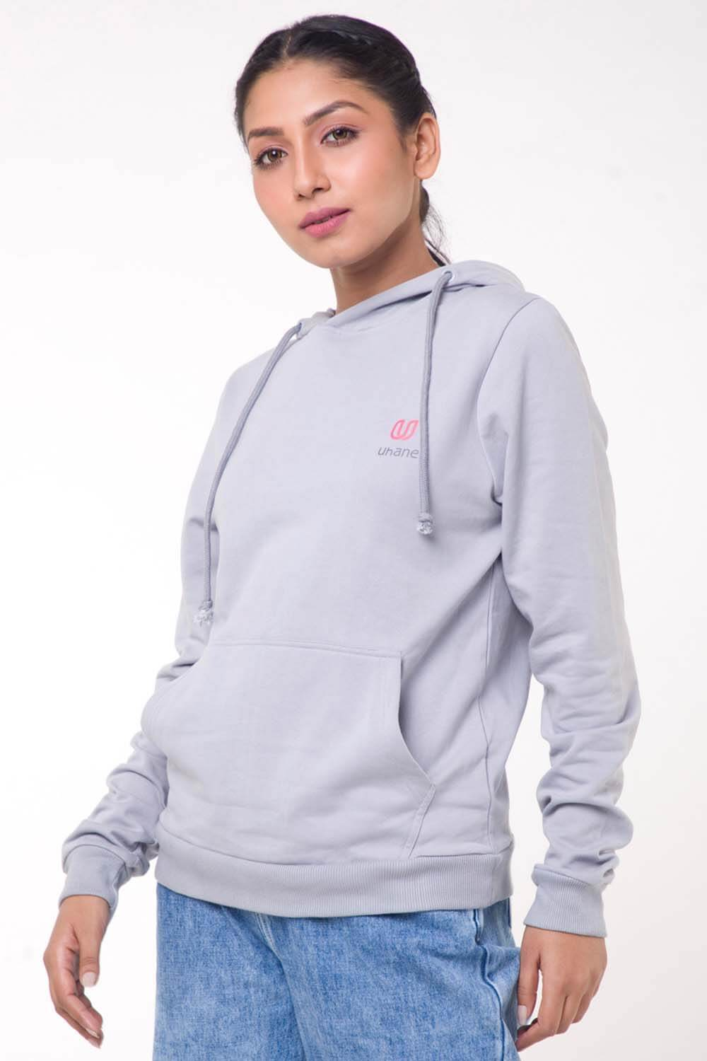 Women's Athleisure and Work-Out Purple Melange Loose-Fit Hoodie