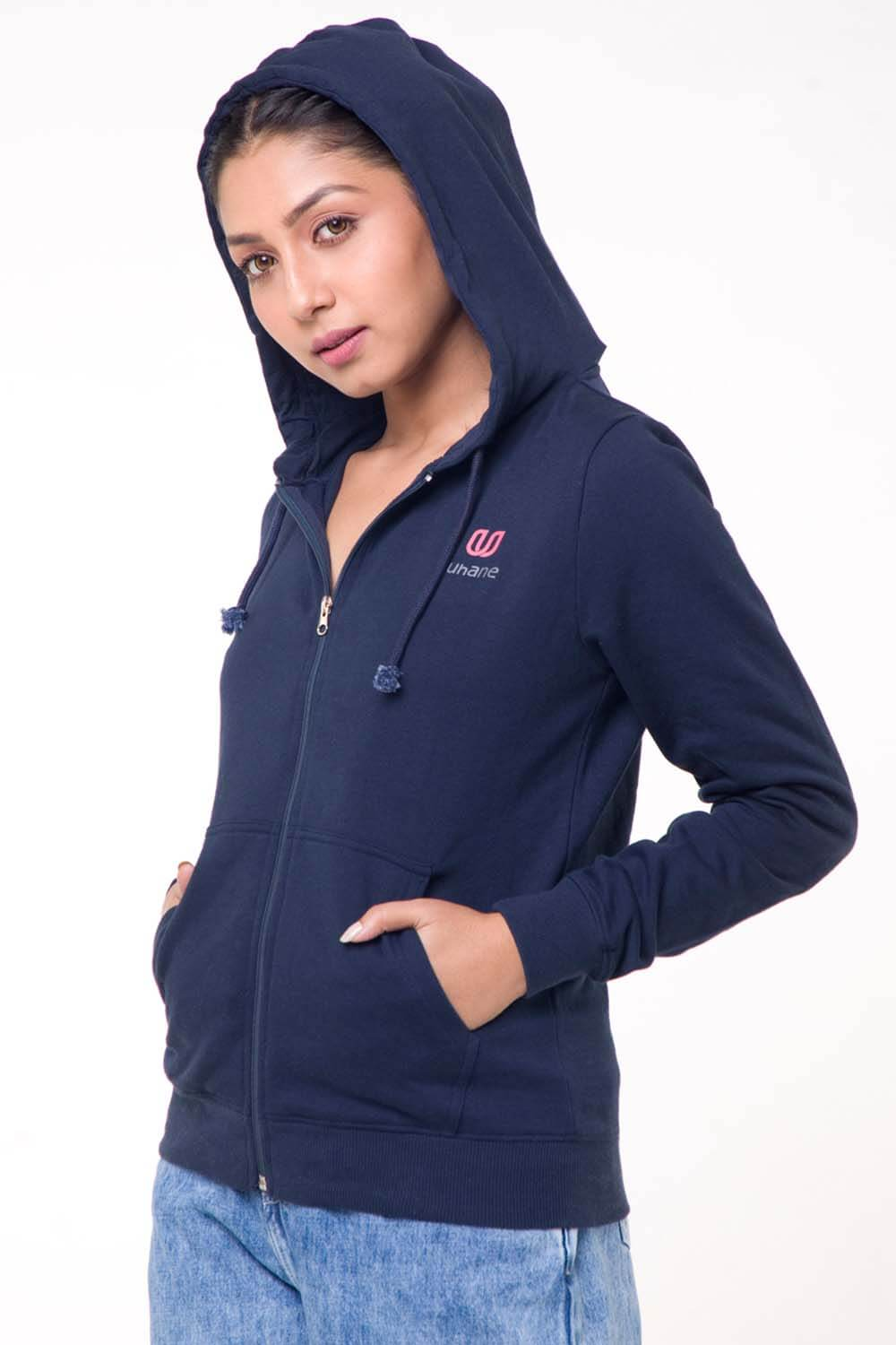Women's Athleisure and Work-Out Dark Blue Cotton Loose-Fit Hooded Jacket