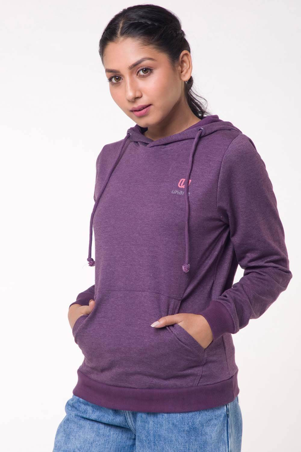 Women's Athleisure and Work-Out Purple Cotton Loose-Fit Sweatshirt